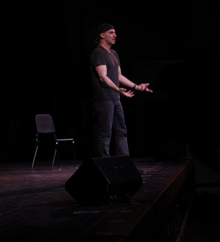 John Morello performs his one-man play to the students and staff of MVRHS.