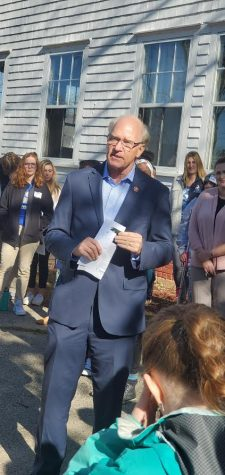 Congressman Bill Keating addresses students at the youth climate summit in Harwich.