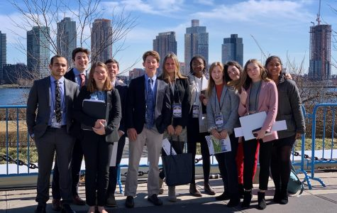 MVRHS Model United Nations club members stand outside the United Nations building in New York City this past weekend.